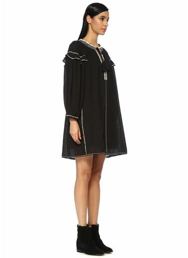 Etoile Isabel Marant Nakışlı Şeritli Balon Kol Mini Elbise Siyah